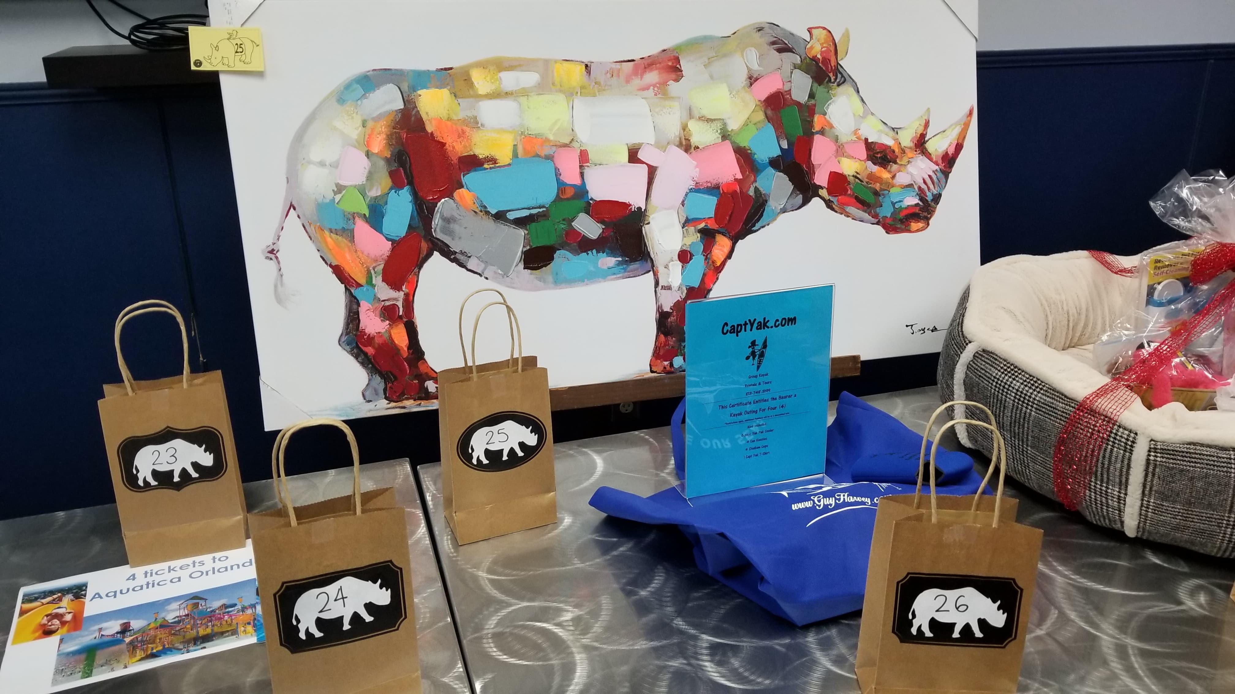Bowling for rhinos, rhino conservation, raffle prizes,