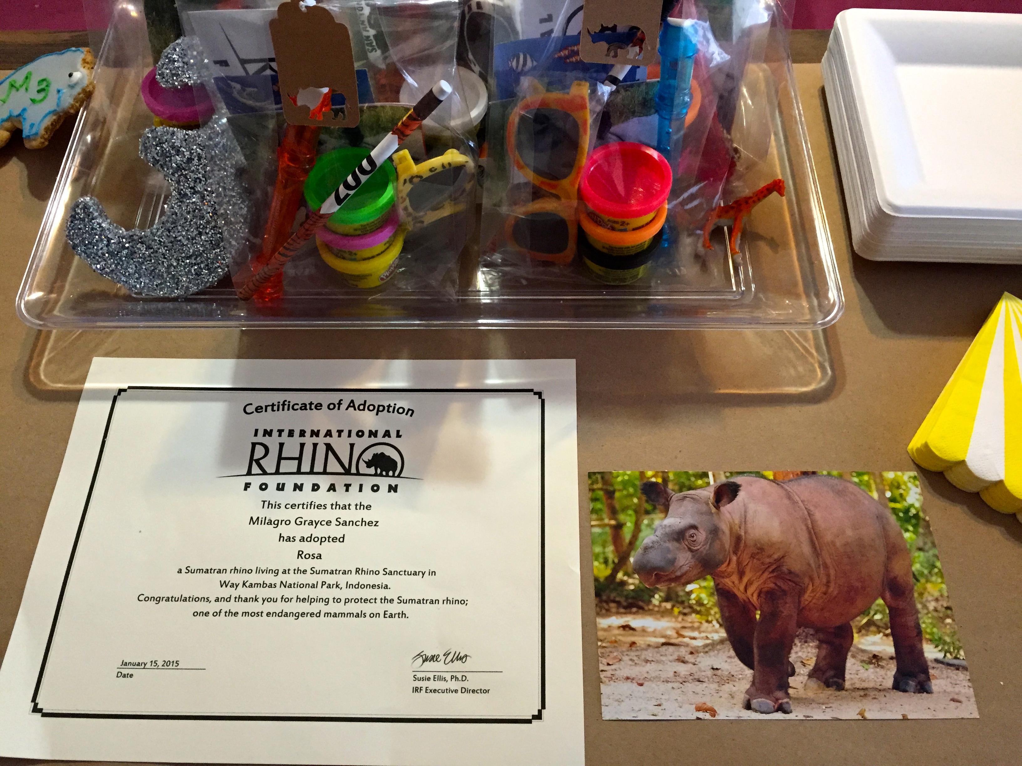 Rosa the Sumatran Rhino Adoption Kit