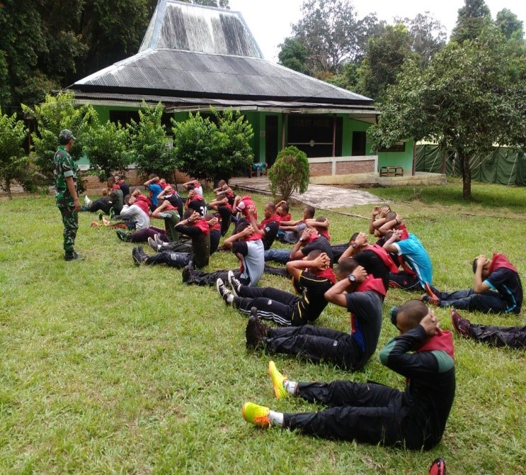 The RPU's candidate work on their sit-ups and swimming.